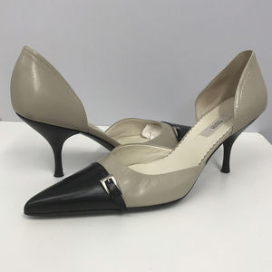 PRADA Leather 2 Tone Pumps Silver Buckle 37 fits 6